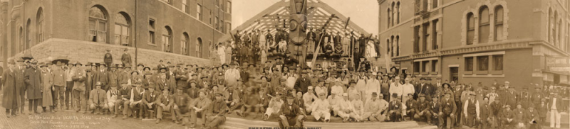 The Men Who Built Victory Hall in a Day Totem Pole Square Tacoma Wash, March 24th 1918